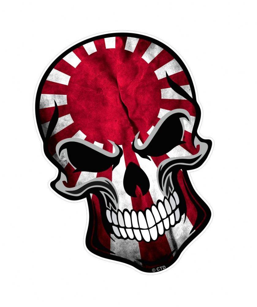 Gothic Biker Skull With Japanese Jdm Style Rising Sun Flag
